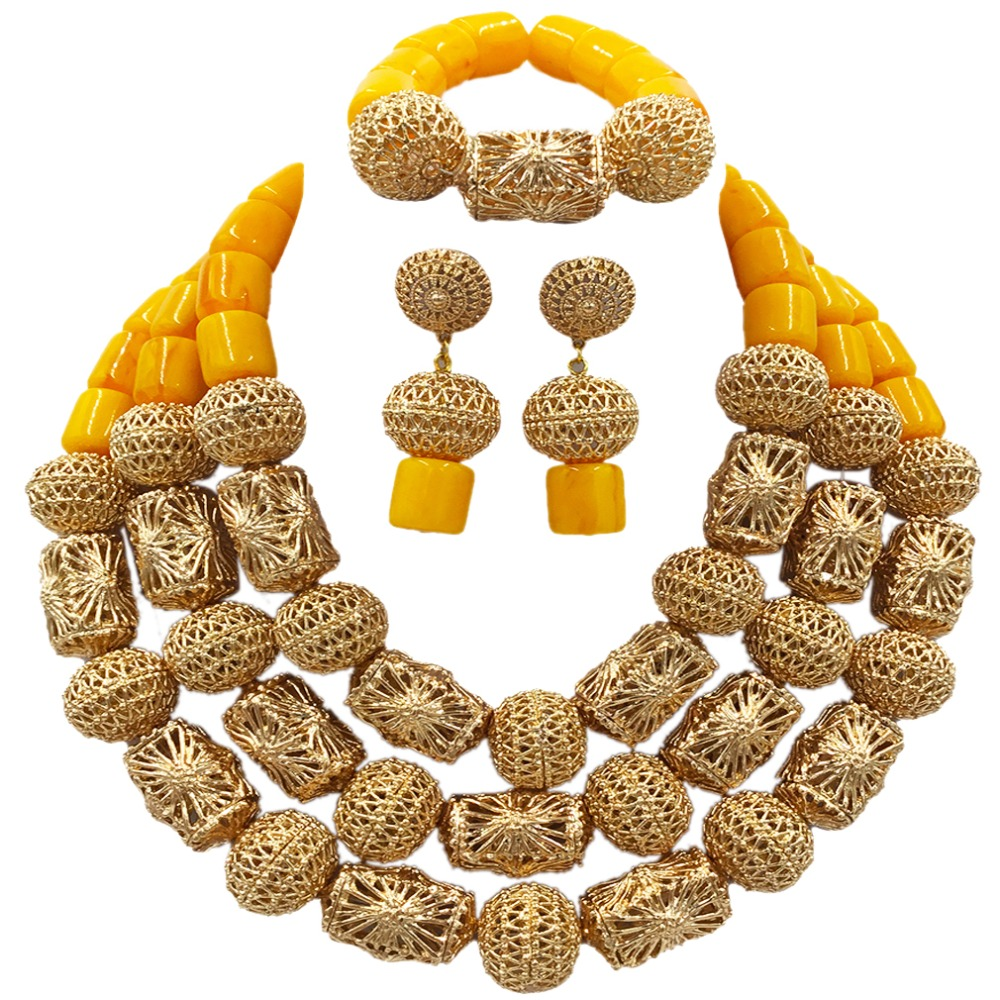 Latest Yellow and Gold Beaded Artificial Coral Nigerian Wedding African Beads Jewelry Set ACB-11 latest yellow and gold beaded artificial coral nigerian wedding african beads jewelry set acb 11