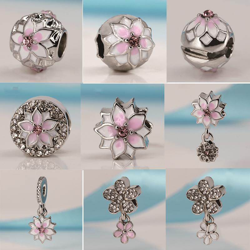 Spinner Magnolia Bloom Dangling Charm Beads Fit Pandora Charm Bracelets&bangles For Women Jewelry Diy Wholesale Jewelry & Accessories Beads