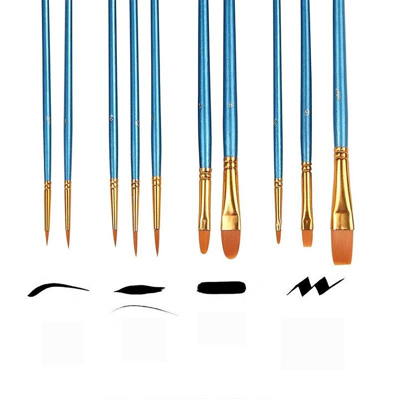 10 pcs/ensemble Aquarelle Gouache Peinture Pinceaux Différents Forme Nylon Cheveux Manche En Bois Peinture Brush Set Art Fournitures - 3