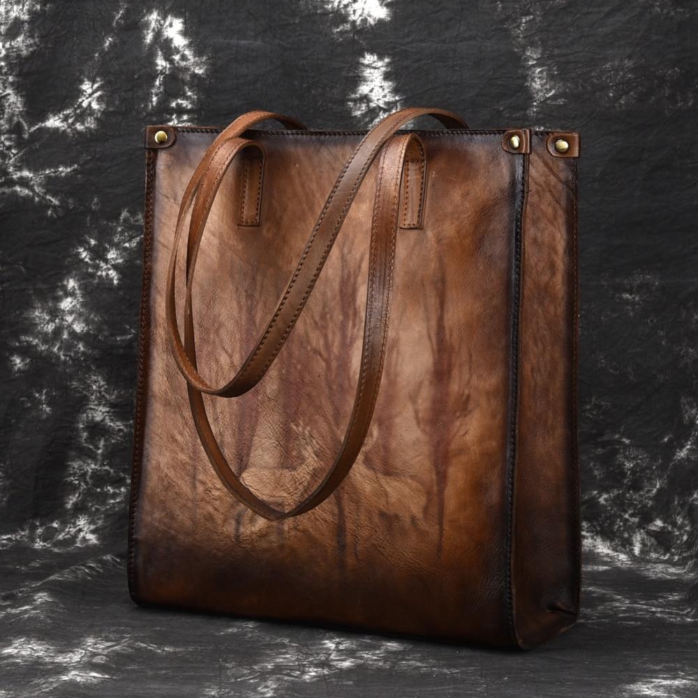 New Brand Female Genuine Leather Handbags Ladies Retro Elegant Shoulder Messenger Bag Cow Leather Handmade Woman