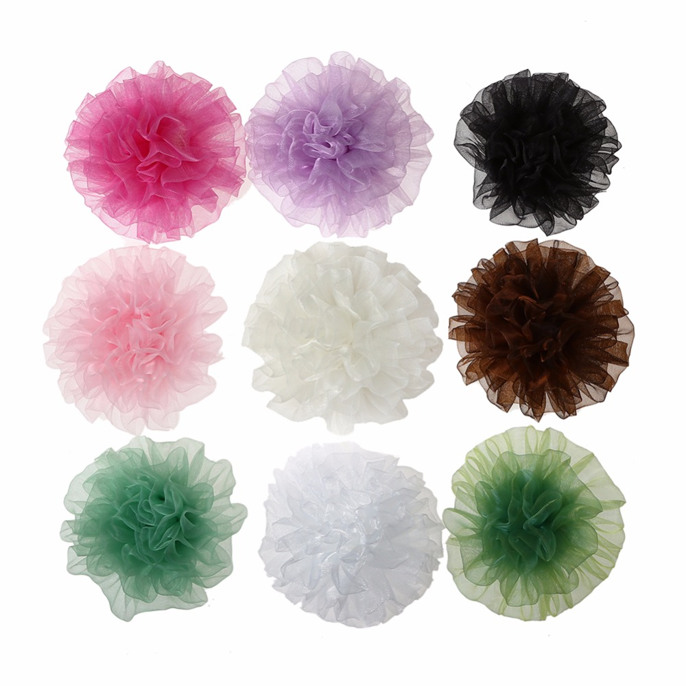 Kidocheese 100pcs/lot Hair Ornament 2.4 DIY Chiffon Mesh Legging Flat Back Flowers For Girls Headband Kidocheese