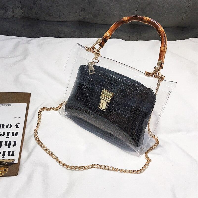 Summer 2019 Small Handbag Transparent Women Hand Bags Chain Straw bag Lady Travel Beach Shoulder Cross Body Bag Holiday