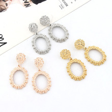 New retro womens drop earrings geometric oval pattern 2019 metal hanging fashion jewelry