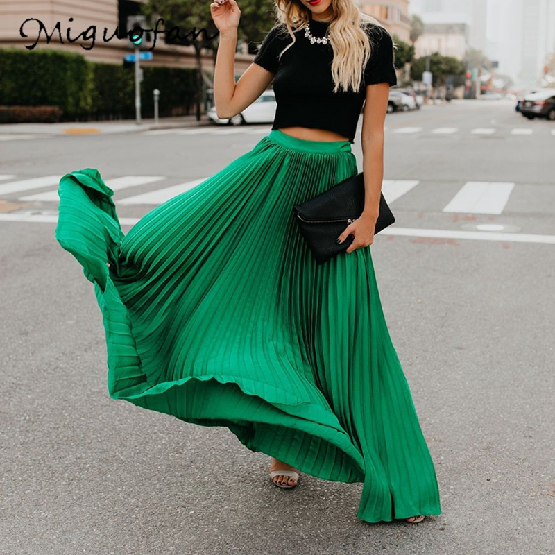 Miguofan Pleated Skirt Women High Waist Long Skirts Loose Streetwear Solid Black White Maxi Skirts Summer 2019 Jupe Femme