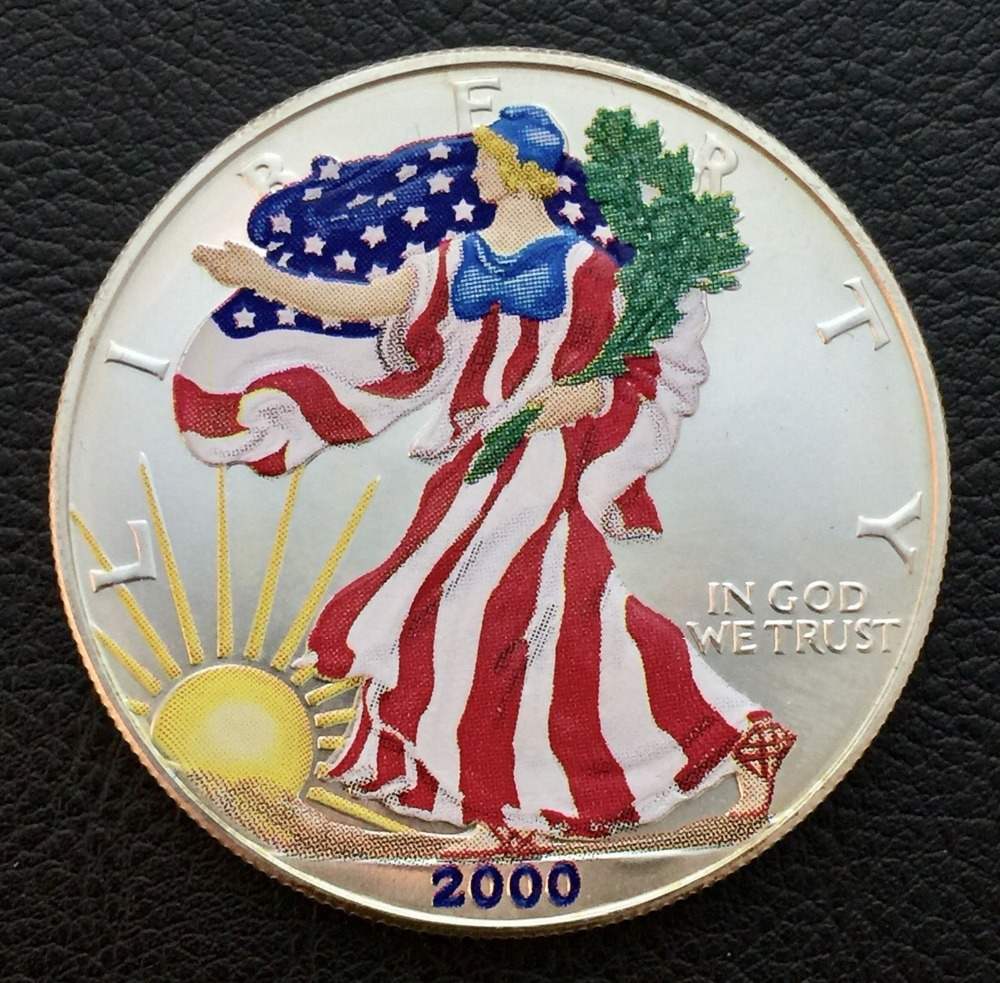 Color die casting engraving coin low price round american flag coins