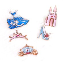 2741adc56fd6 fashion jewelry accessories cute enamel cinderella dress crown highheel shoe  pumpkin castle brooch pin(China