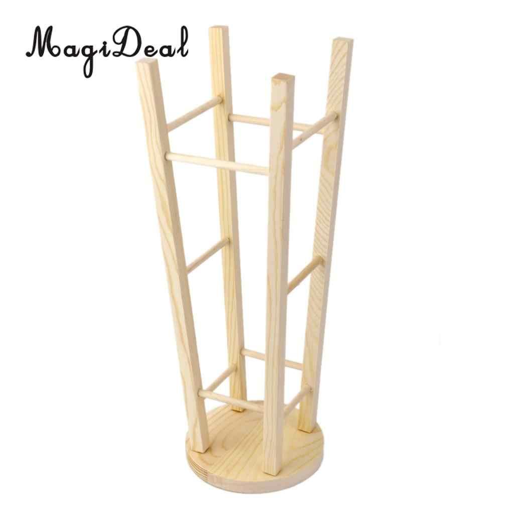 MagiDeal Marke Neue 1Pcs Haar Ständer Holz Stick Supporter Hohe Hocker H 35,5 cm für 1/3 SD BJD Puppe haus Zimmer Decor Möbel Spielzeug