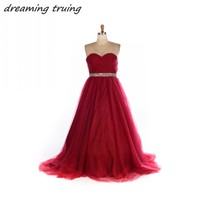Real Photos Burgundy Prom Dresses Red Carpet Long Women Corset Bodies Sequined Beaded Floor Length Pageant