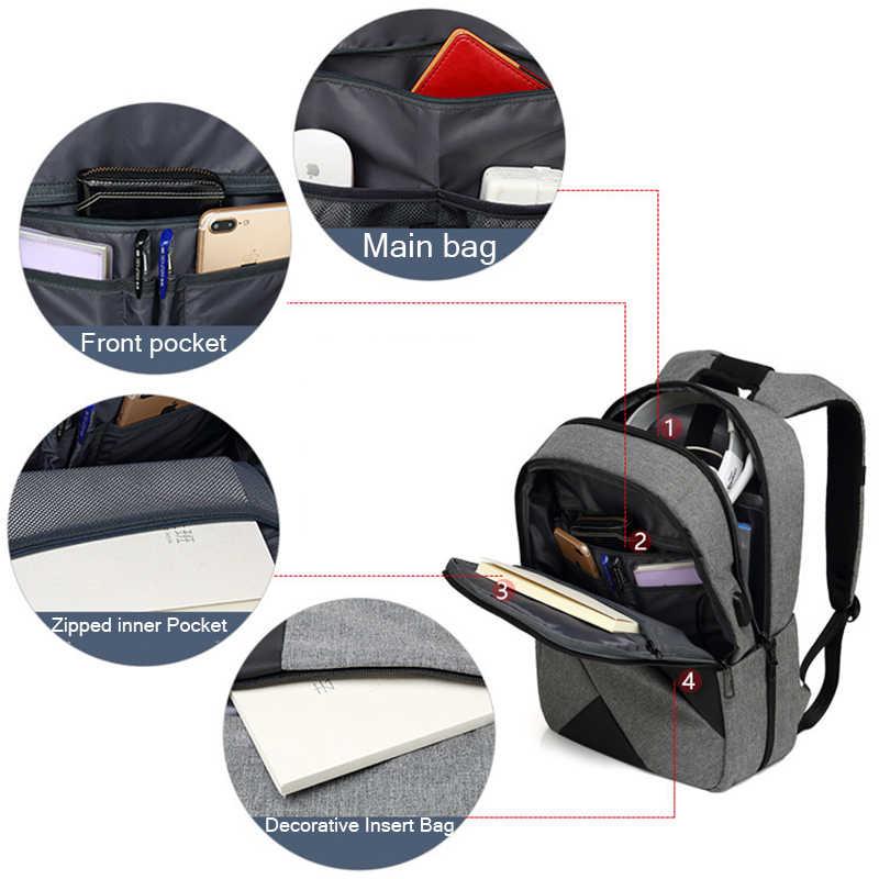 Новый двойной мешок плеча с контрастной отстрочкой многофункциональный USB зарядка 15 дюймовый ноутбук рюкзаки Для мужчин Для женщин отдыха и путешествий Stor