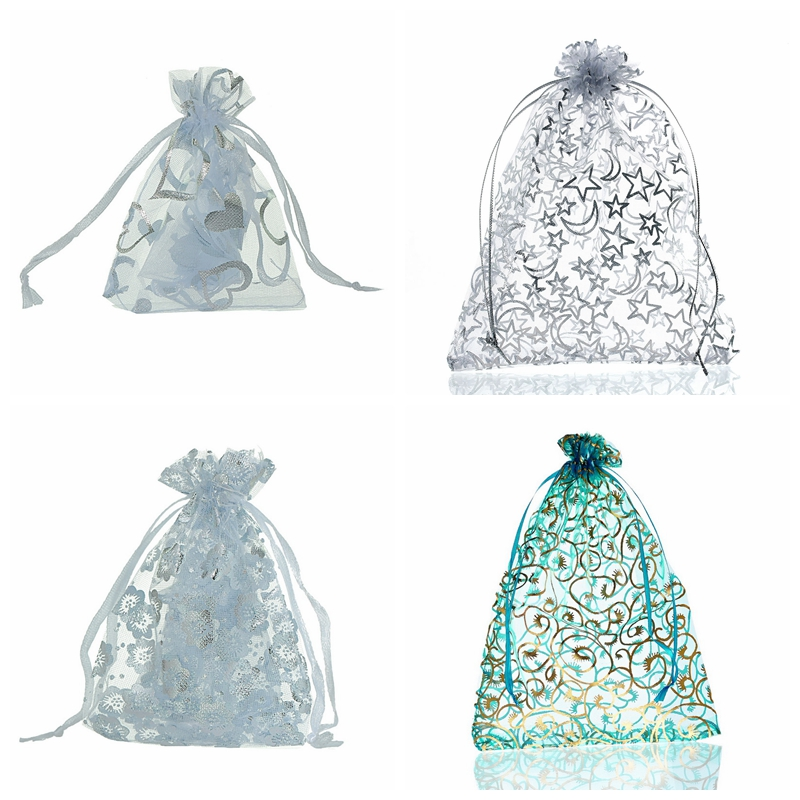50PCs White Heart Organza Bags Jewelry Packaging Bags Wedding  Decoration Favor Gift Pouches For Christmas Gift Jewelry 7cmx9cm