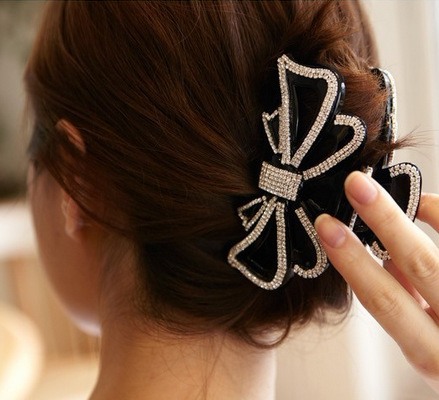 Large Size Circles Crystal Hair Clips Beautiful Girls Stones Hairpins Crab Claws Jaw Clamp Hair Jewelry for Women Black Brown hair ornaments claws headwear accessories girls imitation crystal metal bow hair claws clip crab claw ulet hair clips for women