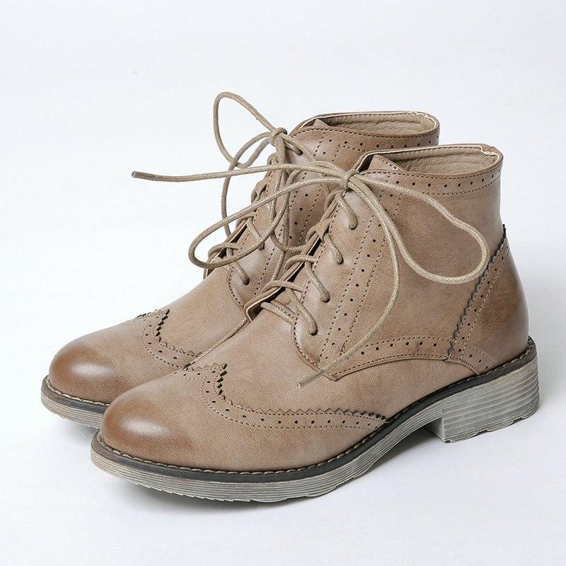 € 34.38 |Tamaño 35 40 mujer PU cuero botas Oxford mujeres ronda los dedos de los pies de encaje bota niñas comodidad vestido diario zapatos de mujer