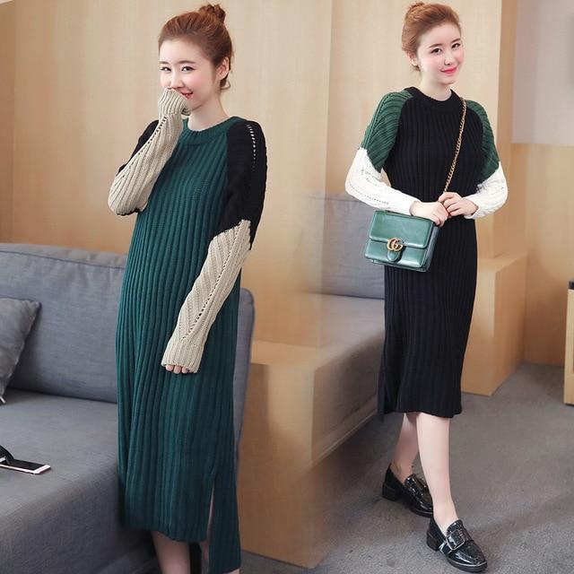 a596f5da0d 2017 Autumn Winter Women Knitted Dress New Korean Fashion Slim Fusion  Stitching Color Hollow O Neck
