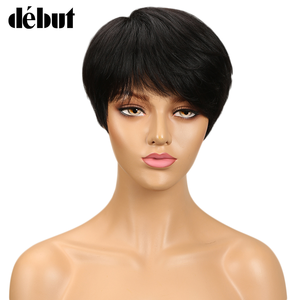 Debut Hair Brazilian Remy Short Straight Human Hair Wigs For Black Women Side Part Ombre Wigs With Bangs Free Shipping