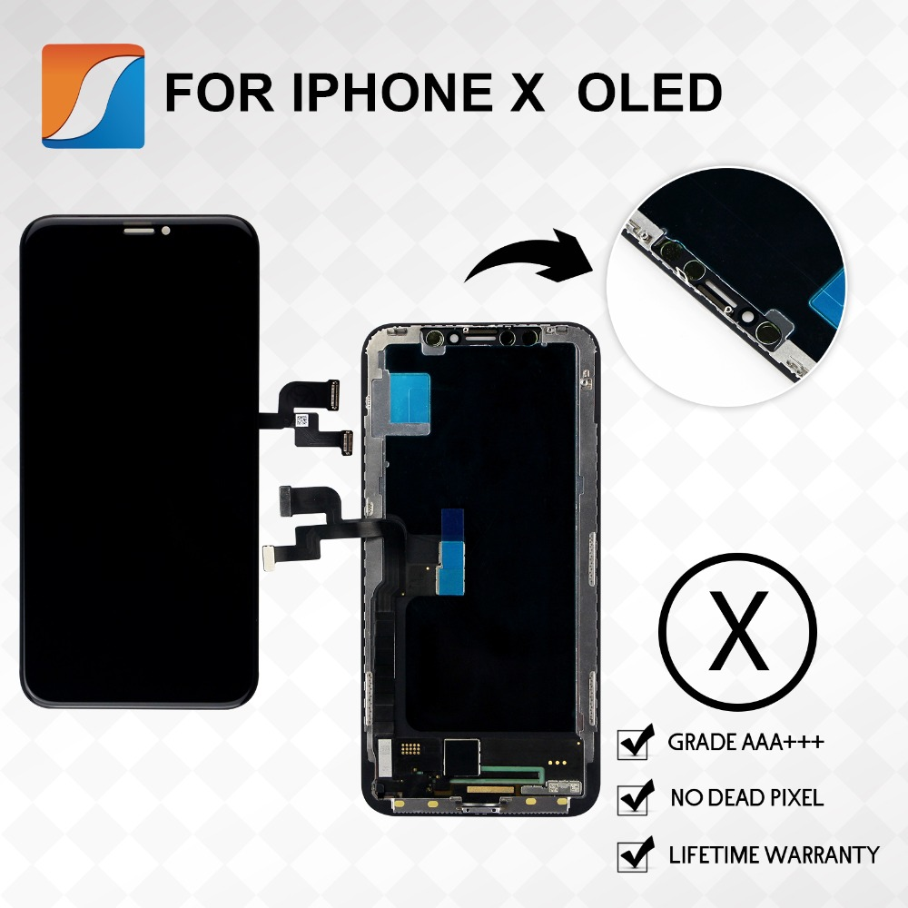 OEM Per il iphone X AMOLED Sostituzione Dello Schermo Con OLED Display Assembly AAA + + + Qualità No Dead Pixel A CRISTALLI LIQUIDI di Trasporto Libero