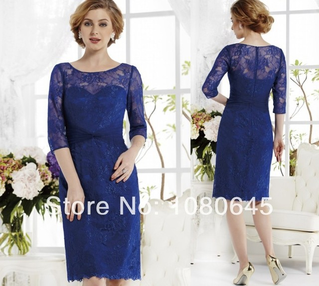 2014 Royal Blue Lace Mother Of The Groom Bride Tea Length gowns ...