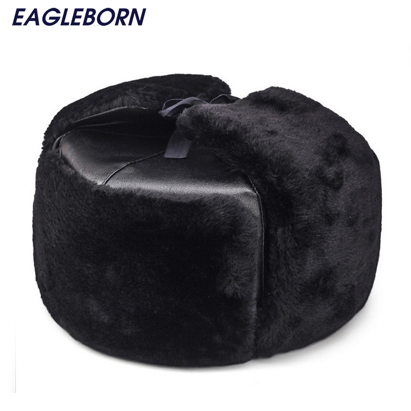 2019 Warm Bomber Hats Men Faux Leather Caps With Ear Eaderly Dad Hats Windproof Winter Fur Hats For Men Women High Quality(China)