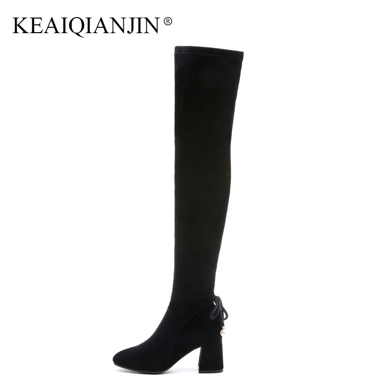 KEAIQIANJIN Woman String Bead Over The Knee Boots Black Fashion Autumn Winter High Heeled Shoes Genuine Leather Knee High Boots keaiqianjin black high heeled shoes autumn winter rivet lace up knee high boots woman genuine leather over the knee boots 2018