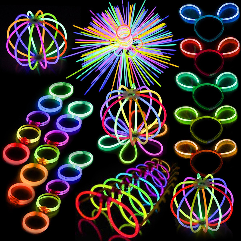 300pcs Light Stick & 330 Parts Funny Glow Stick Toys Glow In The Dark Party Luminous Stick Hairpin Glasses Bracelet Creative Toy