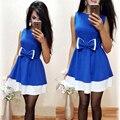 Новый Элегантный Белый Синий Лоскутное Office Dress 2017 Женщины Мода Повседневная Рукавов A-Line Туника Платья Дамы Халат Femme