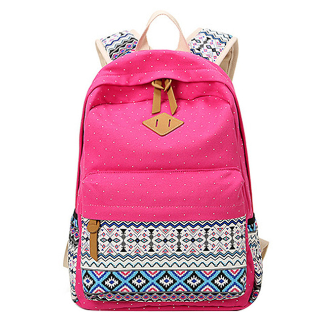 Polka Dot Printing Women Backpack Cute Lightweight Canvas Bookbags Middle High School Bags for Teenage Girls 2