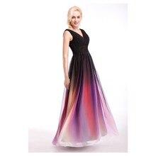 2016 einfache und elegante V-Ausschnitt Prom Kleid mit Falten Design lange Chiffon Abendkleid Benutzerdefinierte Vestido De Festa Gala jurken