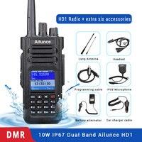 Retevis Ailunce HD1 Dual Band DMR цифровой портативной рации (GPS) 10 Вт IP67 водонепроницаемый УКВ радиолюбителей КВ трансивер + аксессуары