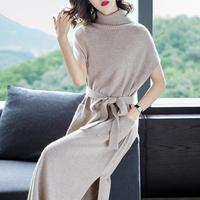 Women Dress Winter New Fashion Cashmere Knitted Dresses Plus Long Ladies Turtleneck Autumn Pullover Girl Woolen No Sleeve Dress