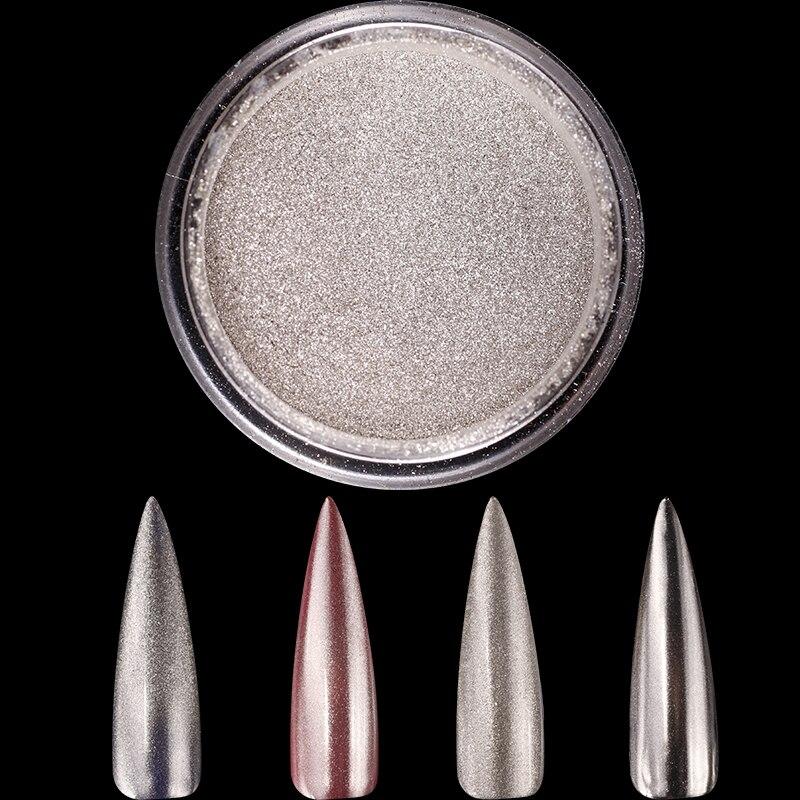 1 Box 1g Spiegel Nagel Glitter 1 Gr/schachtel Silber Metall 3d Nagel Chrom Pigment Spiegel Silber Glitter Pulver Staub Dekorationen Pulver Nagelglitzer
