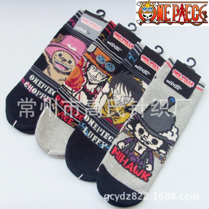 One piece Trafalgar Law Cosplay cotton   socks   plaid striped cartoon Luffy Dracule Mihawk   socks   summer casual personality   socks