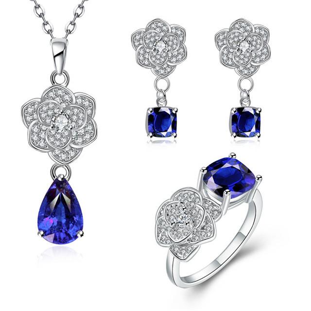 Plateado platino de la joyería de moda joyería nupcial collar pendientes y anillos con zircon niza regalo del Día de San Valentín Orden Mezclada