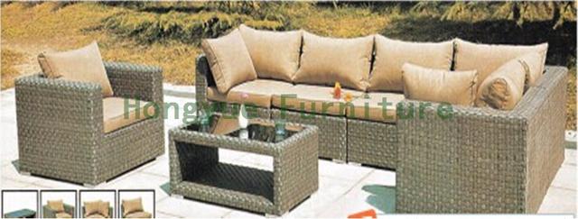 Mimbre marrón combinación sofá exterior establece directo de fábrica
