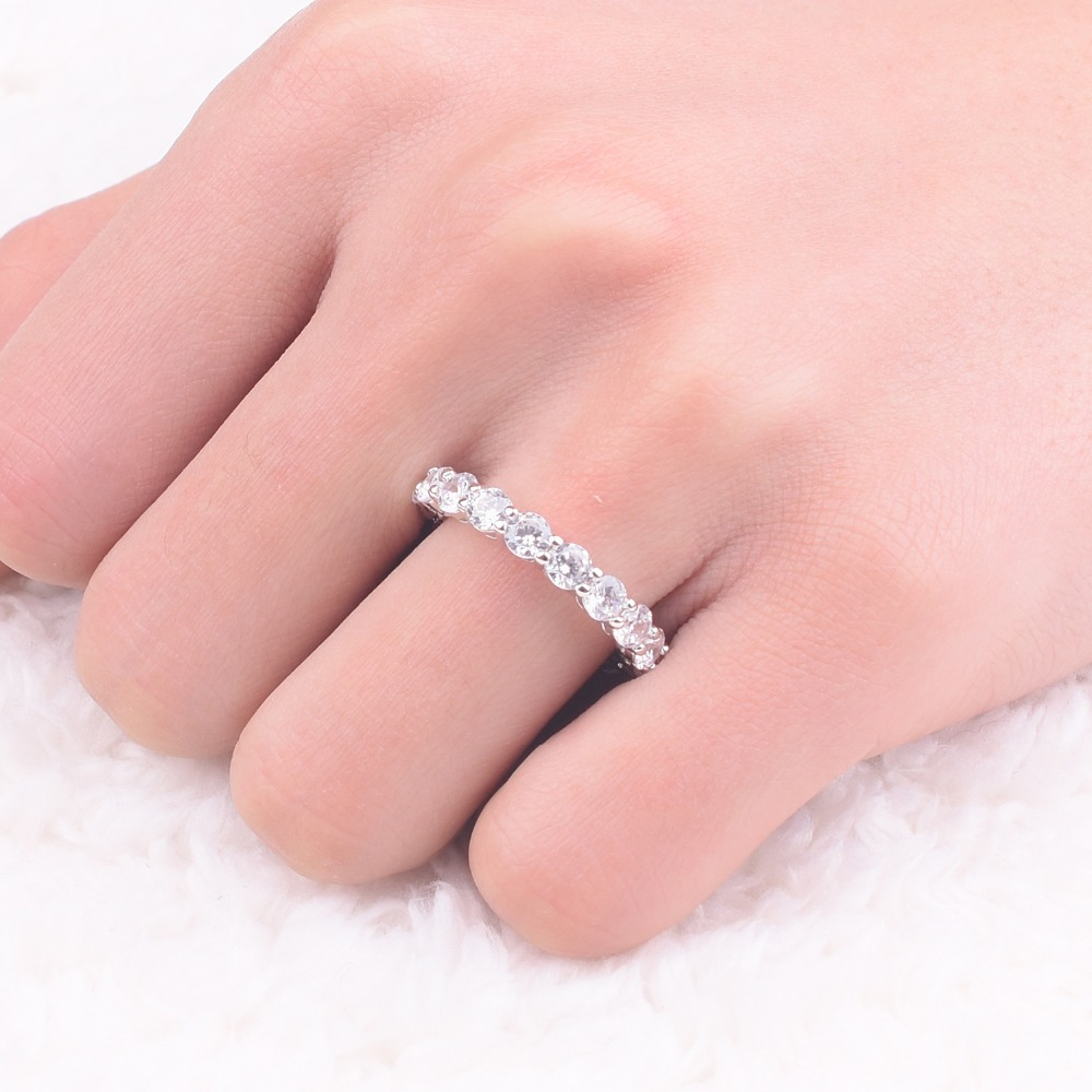 Luxury 925 SILVER PAVE SETTING FULL CZ ETERNITY BAND ENGAGEMENT ...