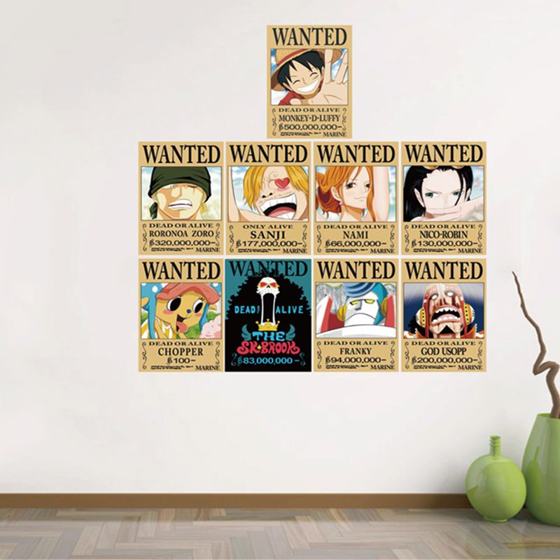 9pieceset 42x29cm One Piece Wanted Kraft Paper Poster