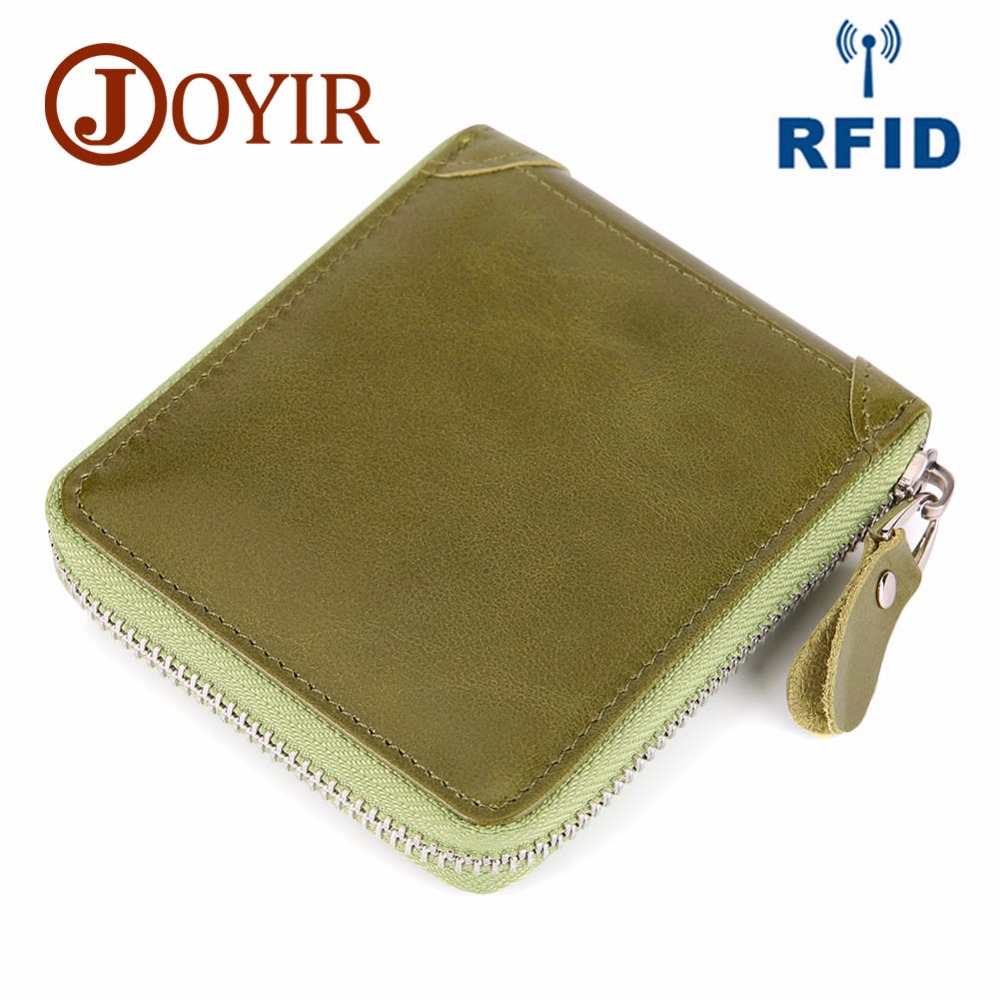 JOYIR Genuine Leather Wallet Women Men Coin Pocket Purse Male Small Walet Portomonee Rfid Wallet Purse Zipper Credit Card Holder