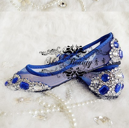 Navy Blue Flat Spring And Summer Single Shoes Crystal Wedding Rhinestone Paillette Low Heeled
