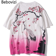 Bebovizi 2019 Men Hip Hop T Shirt Streetwear Crane T-Shirts Harajuku Japan Style Tshirt Summer Short Sleeve Oversized Tops Tees все цены