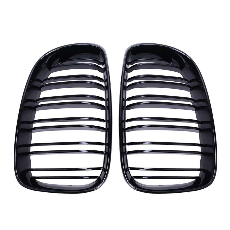 ФОТО 1 Pair New Car Styling Gloss Black Dual Fin Front Kidney Grills Grille For BMW 1Series E81 E82 E87 E88 //