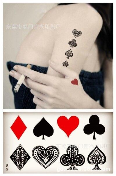 ツpequeño Tatuaje Temporal Etiqueta Poker Spades Corazones Falso