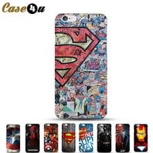 Ultra Slim Superman Phone Case For Coque iPhone 5 5SE 6s 6 7 7Plus iphone7 PC Hard Case Deadpool Ironman Batman Superhero Covers