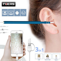 Fuers 3 IN 1 Otoscope Endoscope Camera 720P HD Visual Ear Spoon EarPick Ear Cleaner Cleaning
