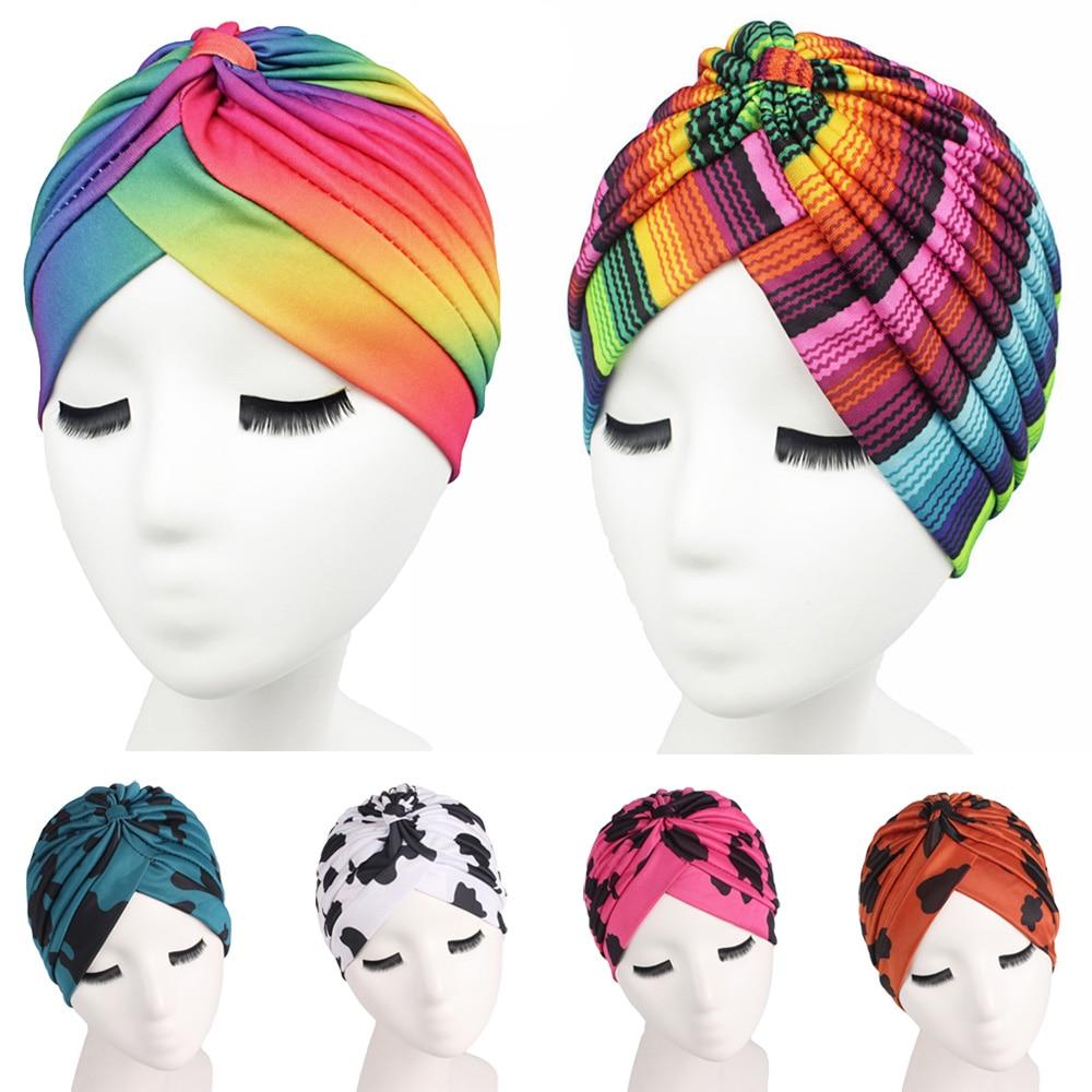 Muslim Women Bonnet Cancer Hat Chemo Cap Hair Loss Pleated Head Scarf Turban Head Wrap Cover Print Fashion Beanies Skullies New