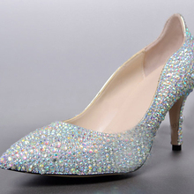Custom Made Sparkling Pointed Toe Bridal Dress Shoes Genuine Leather Prom Shoes AB Crystal Party Shoes Graduation Party Pumps