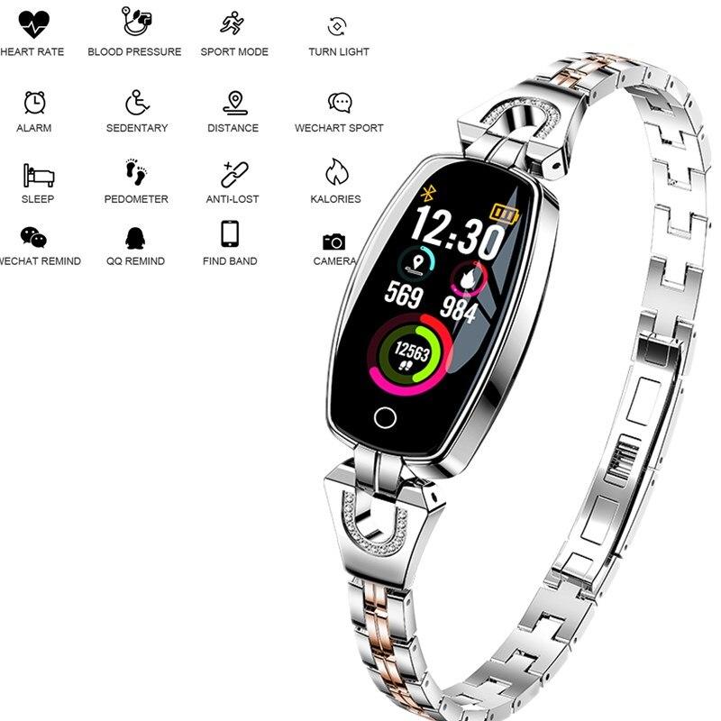 Smart Bracelet Fitness Tracker Montre Smart Watch Femmes Femelle Horloge IP67 H8 Femmes Mode Smart Bracelet Coeur Taux Sang Pression
