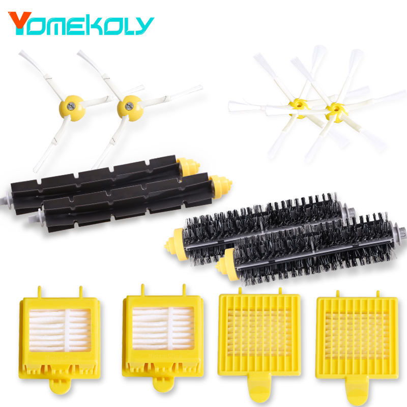 HEPA Filter Side Brush Kit Bristle and Flexible Beater Brush for iRobot Roomba 700 Series 770 780 790 Vacuum Cleaer Accessory 16pc a lot hepa filter side brush kit bristle and flexible beater brush suitable for irobot roomba vacuum parts 700 760 770 780