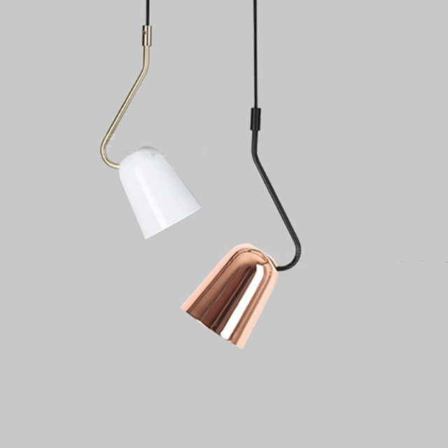Nordic Simple Hanging Lamp Single Head Creative Metal Pendant Light For Study Bedroom Bedside Reading Lighting