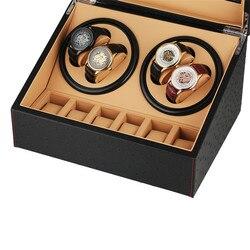 4 + 6 Высококачественная коробка с подзаводом для Автоматические наручные часы Роскошный корпус для мотора деревянная намотка с US/UK/AU/EU вилка...