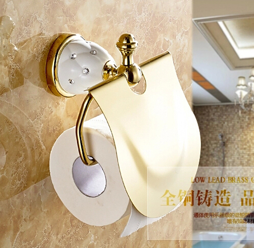 High quality gold toilet paper holder with diamond roll - Solid brass bathroom accessories ...