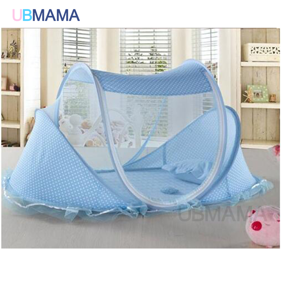 red blue baby bed with mosquito net portable baby bed music game cotton folding bed with children bed coverin baby cribs from mother u0026 kids on