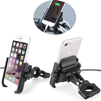 Universal Waterproof 360 Degree Rotation Motorcycle Handlebar Mount Phone Holder With USB Charger For iPhone X 8 7 6s 6 Samsung